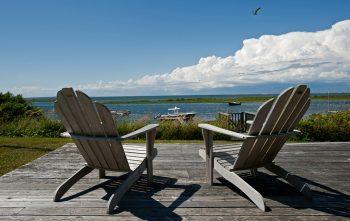 Chairs overlooking harbor