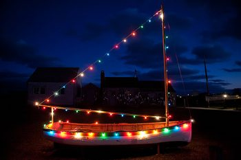 Sail boat light with Christmas lights
