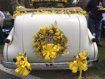 Daffodil Decorated Antique car