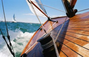 Deck of a sail boat