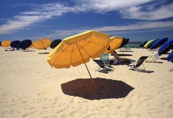 Yellow and Blue Umbrellas on the Beach